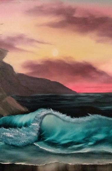 original painting Other - Canvas original art decor/ beach painting.